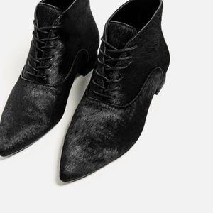 Zara Pony Calf Hair Pointy Toe Ankle Booties